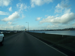 The view from the 520 Floating Bridge on my way home from Eastside Academy.